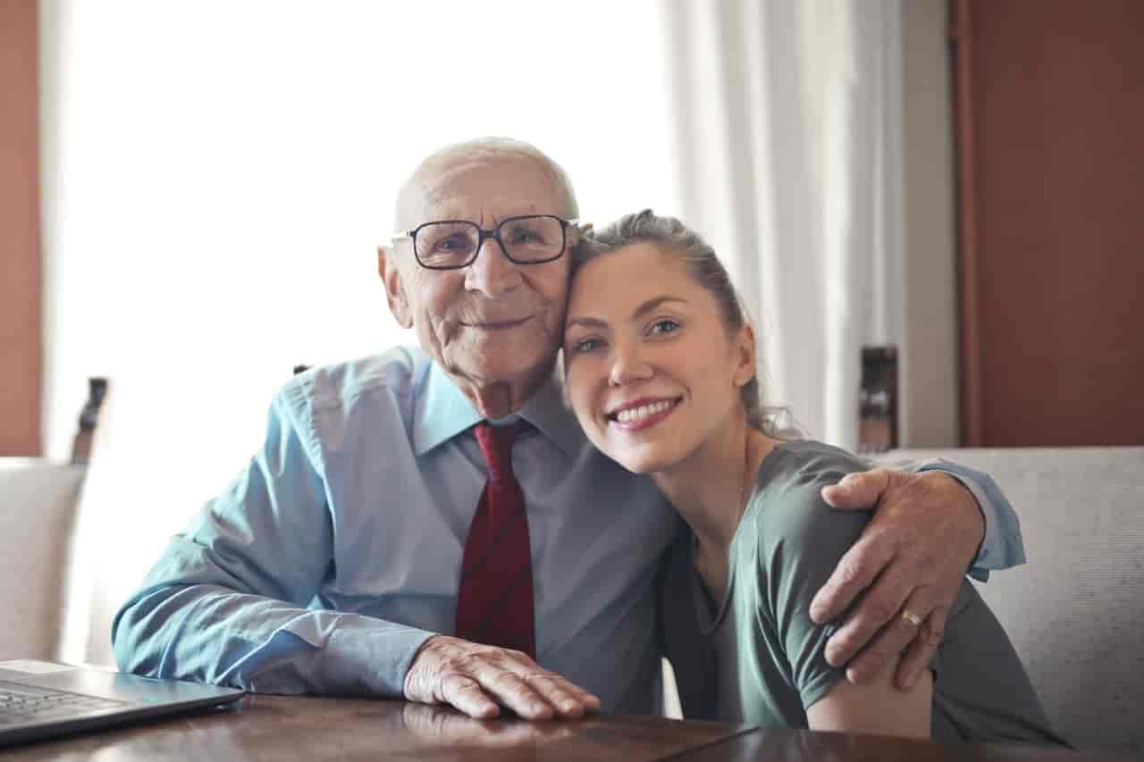 woman with elderly man
